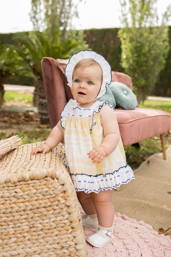 SS20 Dolce Petit Baby Girls Lemon & Navy Blue Trim Dress 2123-VBG