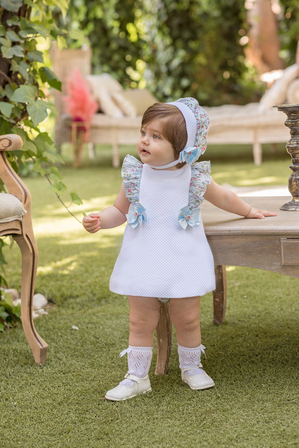 SS20 Dolce Petit Baby Girls White & Blue Floral Dress, Knickers & Bonnet Set 2125-VBG