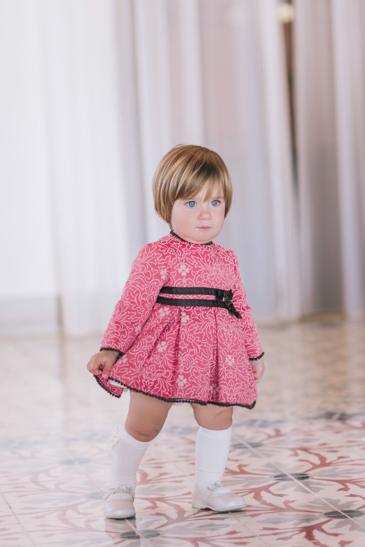 0dcf92672913a AW17 Dolce Petit Baby Girls Pink Dress With Brown Bows 2131-V - Liquorice  Kids