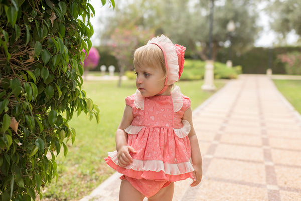 SS20 Dolce Petit Baby Girls Coral & Cream Dress, Knickers & Bonnet 2132-VBG