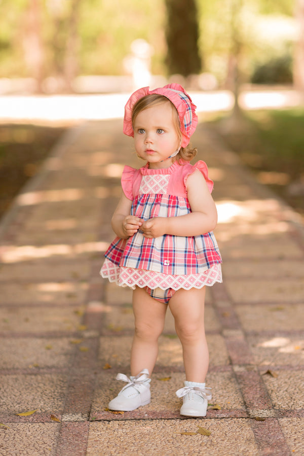 SS20 Dolce Petit Baby Girls Coral Dress, Knickers & Bonnet Set 2134-VBG