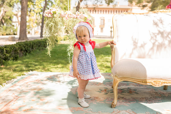 SS20 Dolce Petit Baby Girls Blue & Red Dots Dress, Knickers & Bonnet 2136-VBG