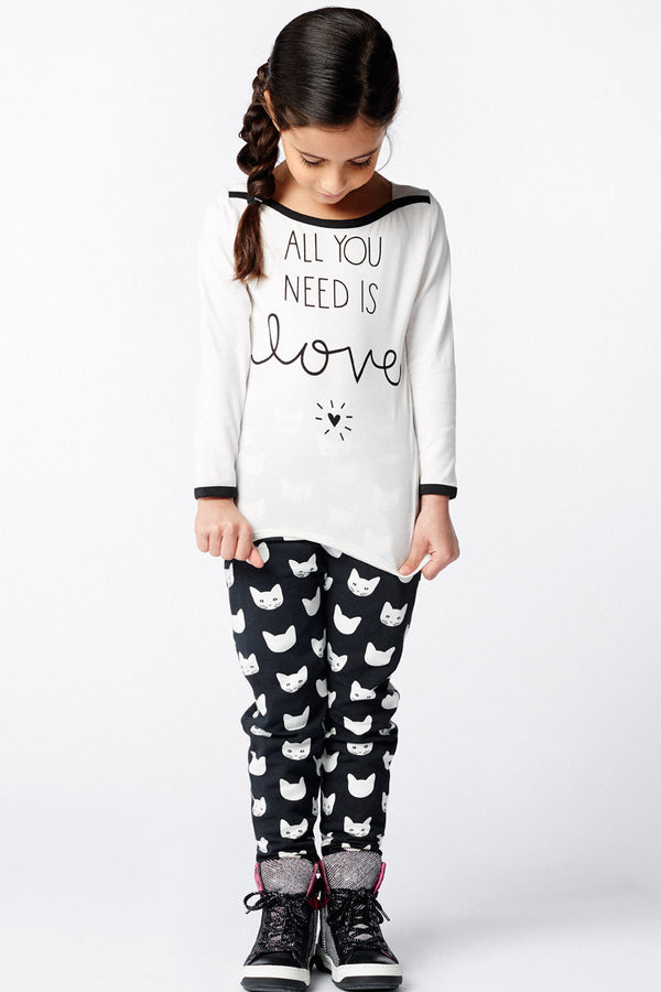AW16 Mim-Pi Girls Black & White 'All You Need Is Love' Top 213 - Liquorice Kids