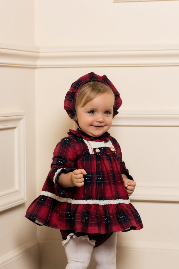 AW18 Dolce Petit Baby Girls Red & Navy Check Dress, Bonnet & Knickers Set 2144-VBG