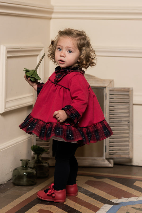 AW18 Dolce Petit Baby Girls Red & Navy Tartan Dress & Knickers Set 2145-VB