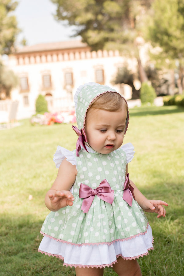 PRE-ORDER SS20 Dolce Petit Baby Girls Mint Green Polka Dot Dress, Knickers & Bonnet 2147-VBG