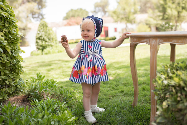 PRE-ORDER SS20 Dolce Petit Baby Girls Navy Blue & White Stripe Dress, Knickers & Bonnet Set 2154-VB