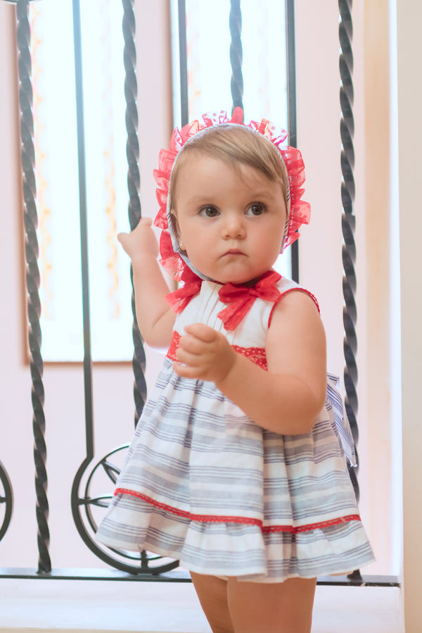 SS20 Dolce Petit Baby Girls White Stripe & Red Bow Dress, Knickers & Bonnet Set  2158-VBG