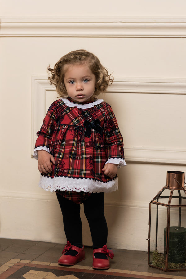 AW18 Dolce Petit Baby Girls Tartan Dress & Knickers Set 2158-VB