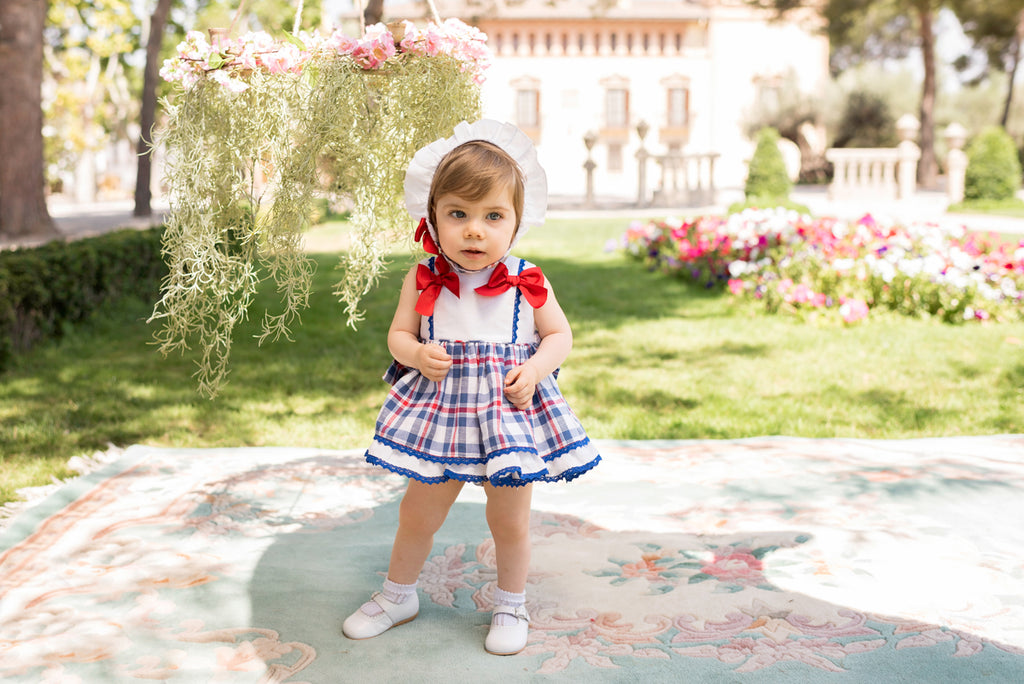 SS20 Dolce Petit Baby Girls White, Red & Blue Check Dress, Knickers & Bonnet Set 2160-VBG