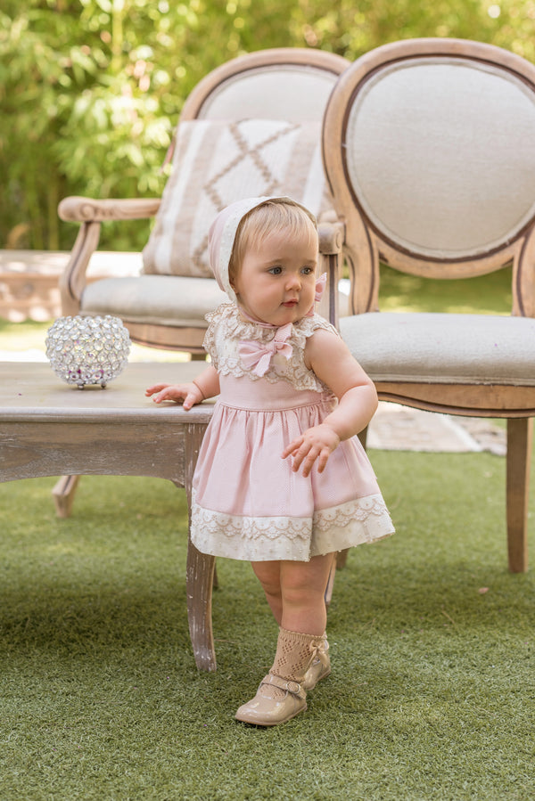 PRE-ORDER SS20 Dolce Petit Baby Girls Pink & Camel Lace Dress, Knickers & Bonnet Set 2165-VBG