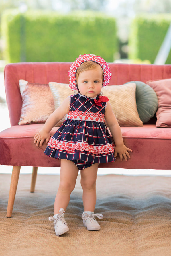 SS20 Dolce Petit Baby Girls Navy Blue, Red & White Check Dress, Knickers & Bonnet Set 2178-VBG