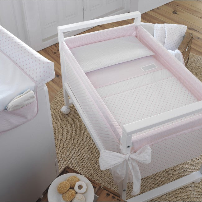 Cambrass Pink Stars Wooden Frame Crib