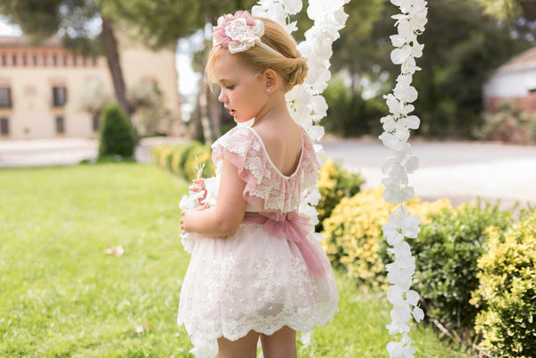 SS20 Dolce Petit Girls Ivory & Blush Pink Skirt Set 2200-23