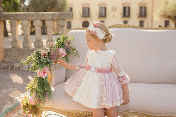 SS20 Dolce Petit Girls Ivory & Blush Dress 2200-V