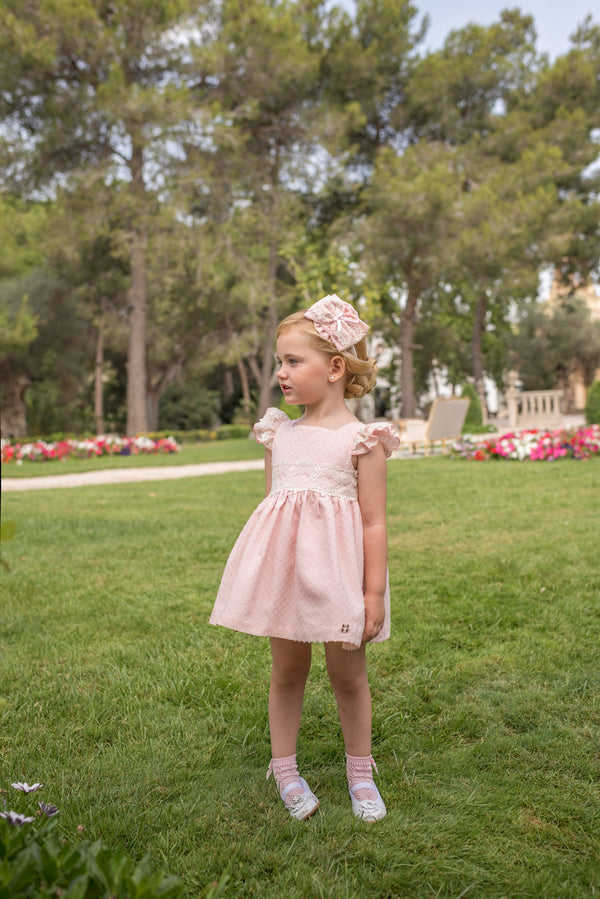 SS20 Dolce Petit Girls Pink & Ivory lace Dress 2201-V