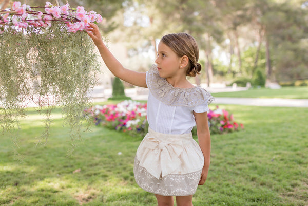 SS20 Dolce Petit Girls Ivory & White Skirt Set 2208-23