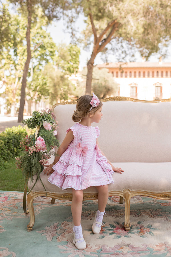 SS20 Dolce Petit Girls Pink & White Stripe Dress 2211-V
