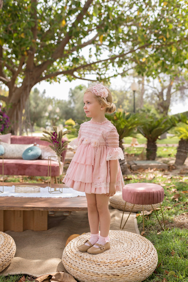 SS20 Dolce Petit Girls Pink Lace Dress 2212-V