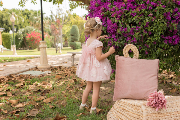 SS20 Dolce Petit Girls Pink & Ivory Lace Dress 2213-V