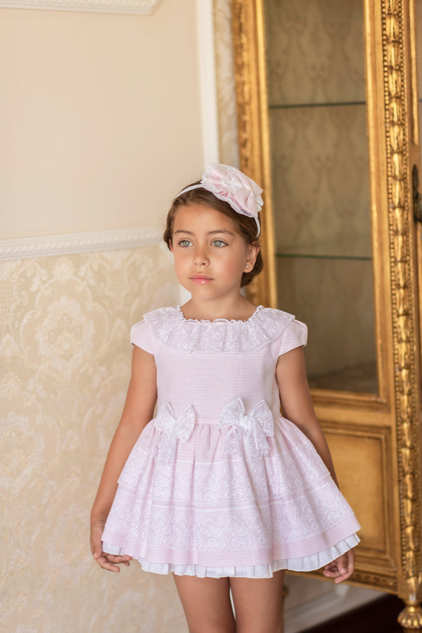 SS19 Dolce Petit Girls Pink & White Lace Dress 2213-V