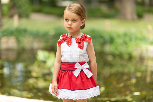 SS19 Dolce Petit Girls Red & White Bows Skirt Set 2215-23