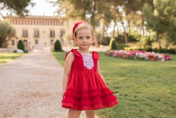 SS20 Dolce Petit Girls Red & White Lace Dress 2215-V