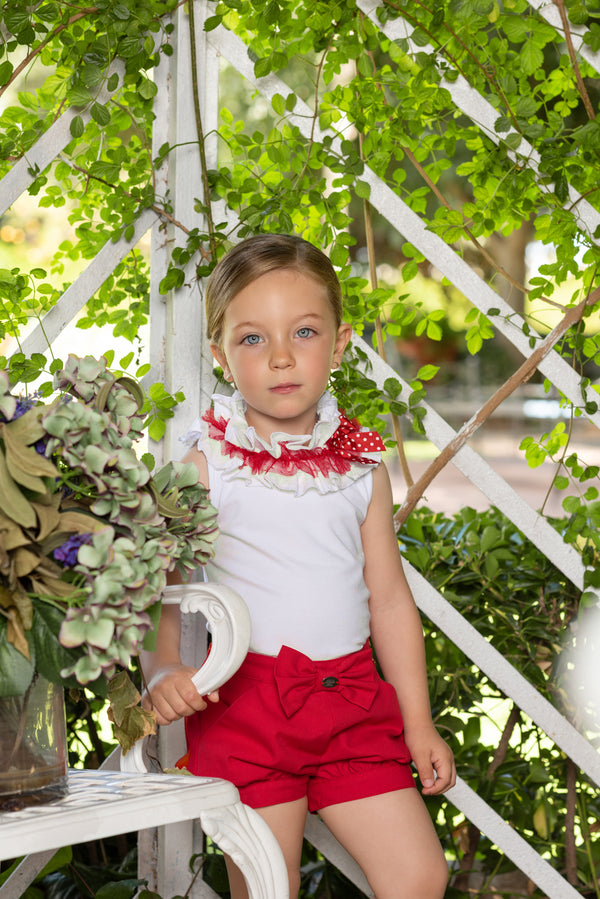 SS19 Dolce Petit Girls White & Red Shorts Set 2216-23