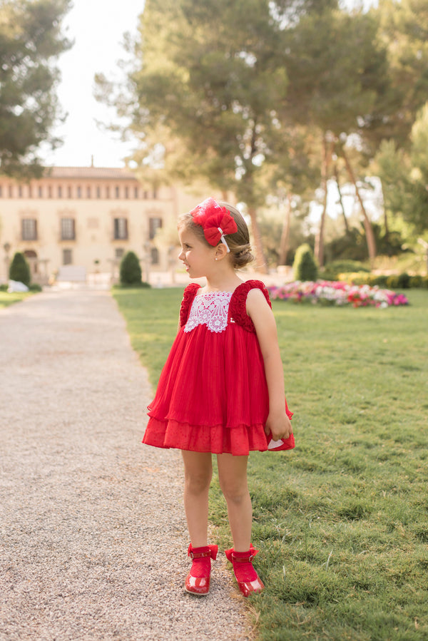 SS20 Dolce Petit Girls Red & White Lace Dress 2216-V