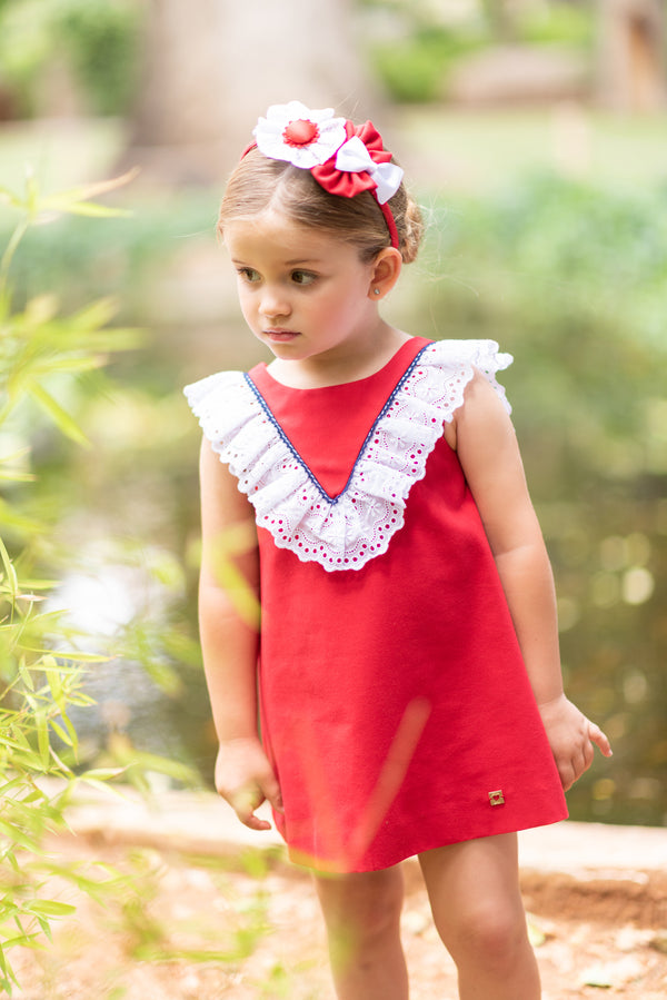SS19 Dolce Petit Girls Red & White Frill Dress 2217-V