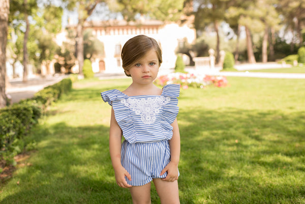 SS20 Dolce Petit Girls Blue & White Stripe Playsuit 2218-P