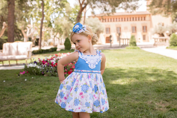 SS20 Dolce Petit Girls Blue & White Floral Dress 2218-V