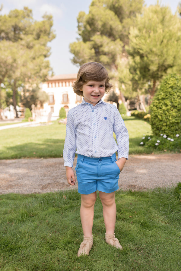 SS20 Dolce Petit Boys Blue & White Short Set 2219-23