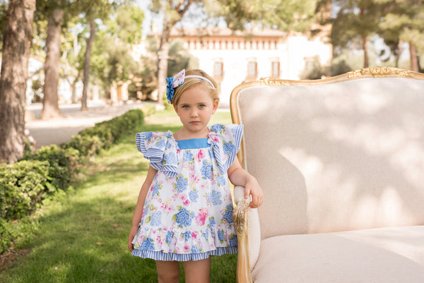 SS20 Dolce Petit Girls Blue & White Floral Dress 2219-V