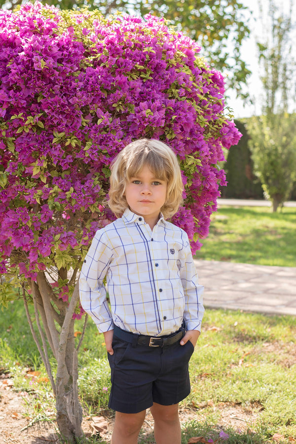 SS20 Dolce Petit Boys Navy Blue, Lemon & White Short Set 2222-23