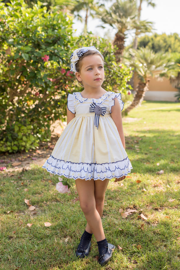 SS20 Dolce Petit Girls Lemon, Navy Blue & White Dress 2222-V