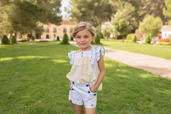 SS20 Dolce Petit Girls Lemon, Navy Blue & White Short Set 2223-23