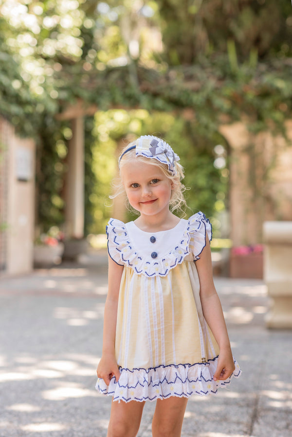 SS20 Dolce Petit Girls Lemon, Navy Blue & White Dress 2223-V