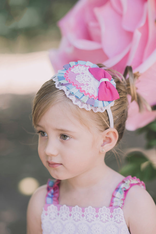 SS18 Dolce Petit Girls Hot Pink Check Headband 2224-D