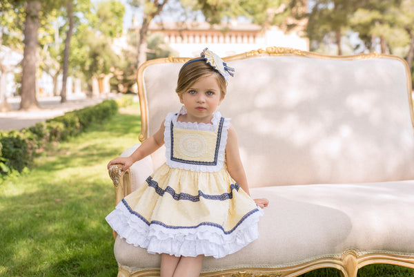 SS20 Dolce Petit Girls Lemon, White & Navy Blue Trim Dress 2224-V