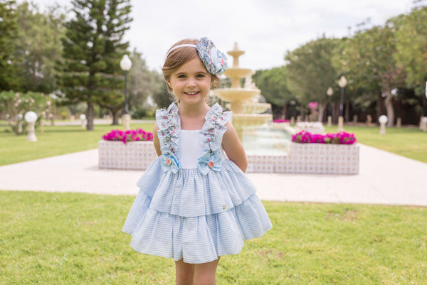 SS20 Dolce Petit Girls Baby Blue Floral Dress 2225-V