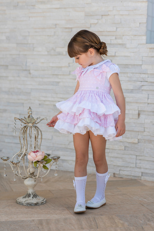 SS19 Dolce Petit Girls Pink & White Two-Piece Set 2227-2P
