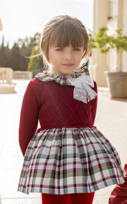 AW19 Dolce Petit Girls Burgundy & White Tartan Dress 2231-V