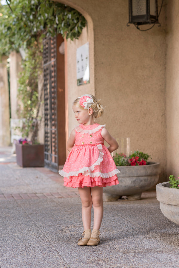 SS20 Dolce Petit Girls Coral Dress 2232-V