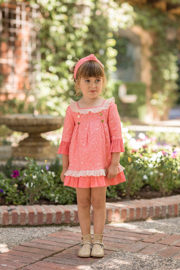 SS20 Dolce Petit Girls Coral Dress 2233-V