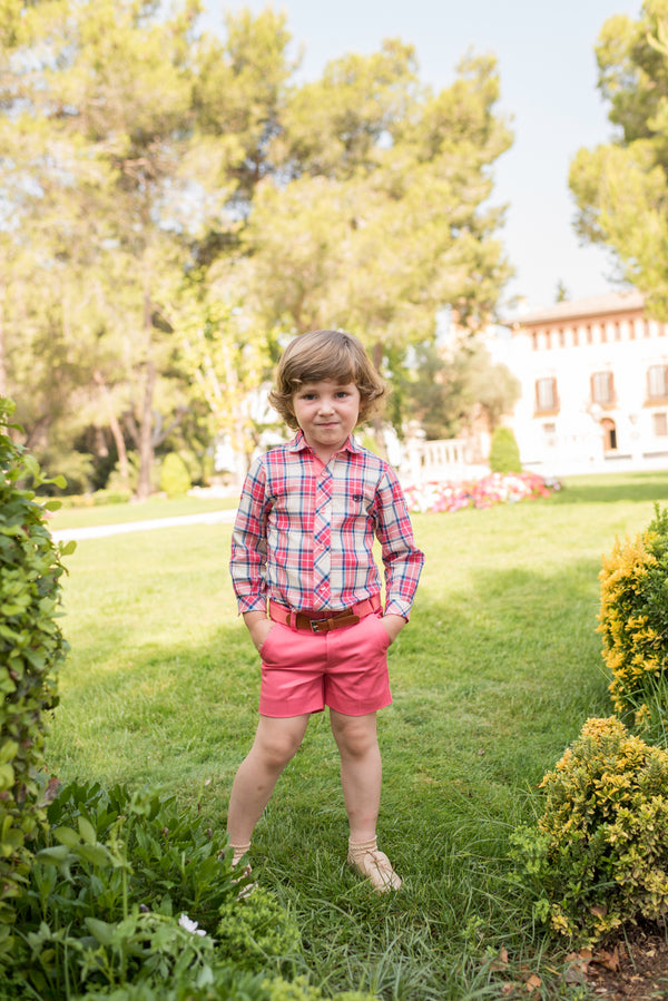 SS20 Dolce Petit Boys Coral Check Short Set 2234-23