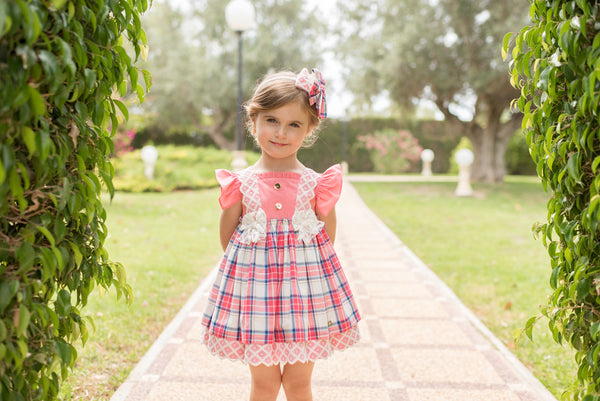 SS20 Dolce Petit Girls Coral Check Dress 2234-V