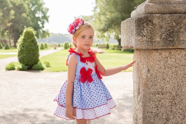 SS20 Dolce Petit Girls Blue & Red Polka Dot Dress 2235-V