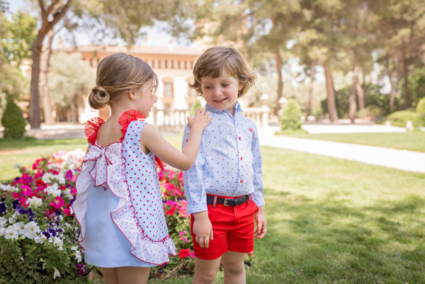 SS20 Dolce Petit Boys Blue & Red Short Set 2236-23