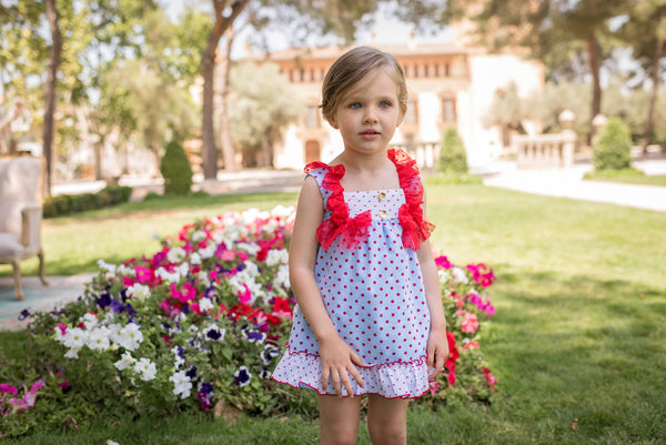 SS20 Dolce Petit Girls Blue & Red Polka Dot Dress 2236-V
